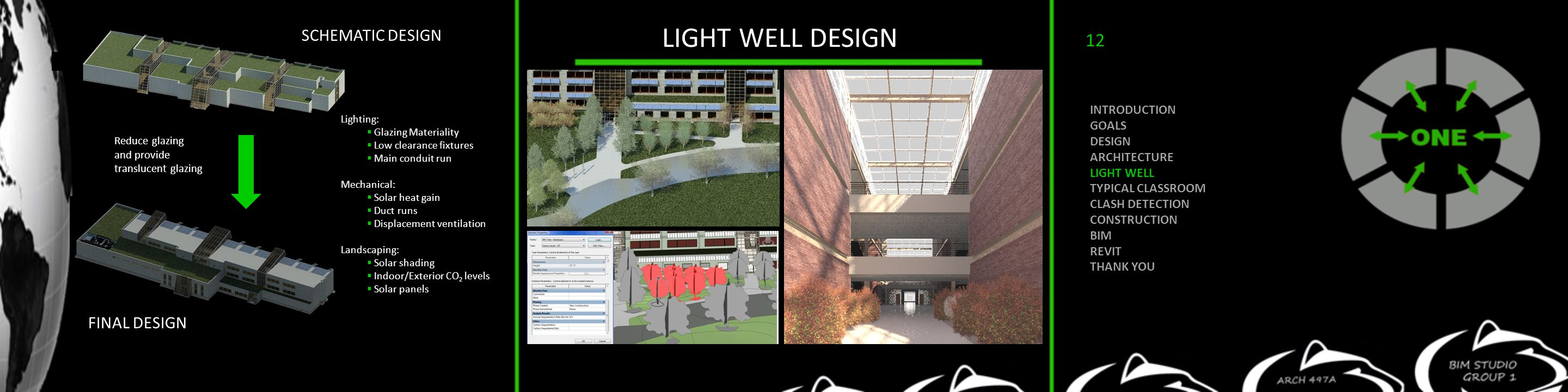 LIGHT WELL DESIGN Reduce glazing and provide translucent glazing FINAL DESIGN SCHEMATIC DESIGN Lighting:  Glazing Materiality  Low clearance fixtures  Main conduit run Mechanical:  Solar heat gain  Duct runs  Displacement ventilation Landscaping:  Solar shading  Indoor/Exterior CO 2 levels  Solar panels INTRODUCTION GOALS DESIGN ARCHITECTURE LIGHT WELL TYPICAL CLASSROOM CLASH DETECTION CONSTRUCTION BIM REVIT THANK YOU 12