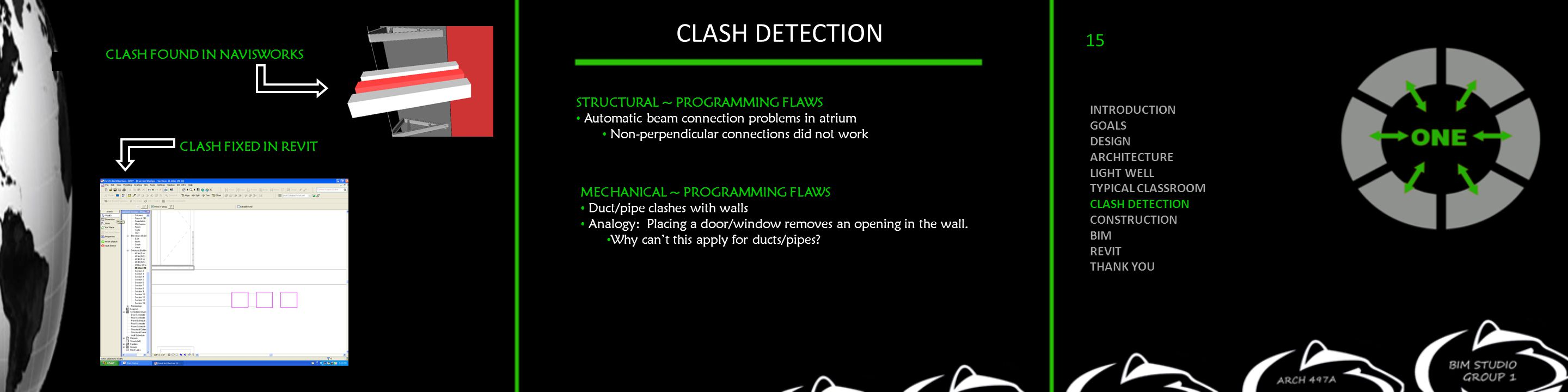 CLASH DETECTION STRUCTURAL ~ PROGRAMMING FLAWS Automatic beam connection problems in atrium Non-perpendicular connections did not work MECHANICAL ~ PR