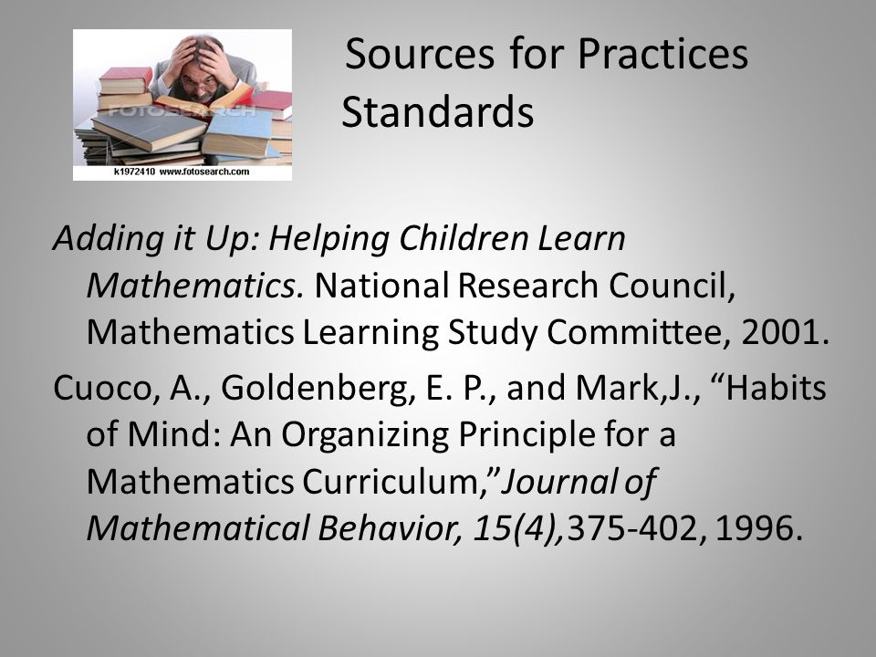 Sources for Practices Standards Adding it Up: Helping Children Learn Mathematics.