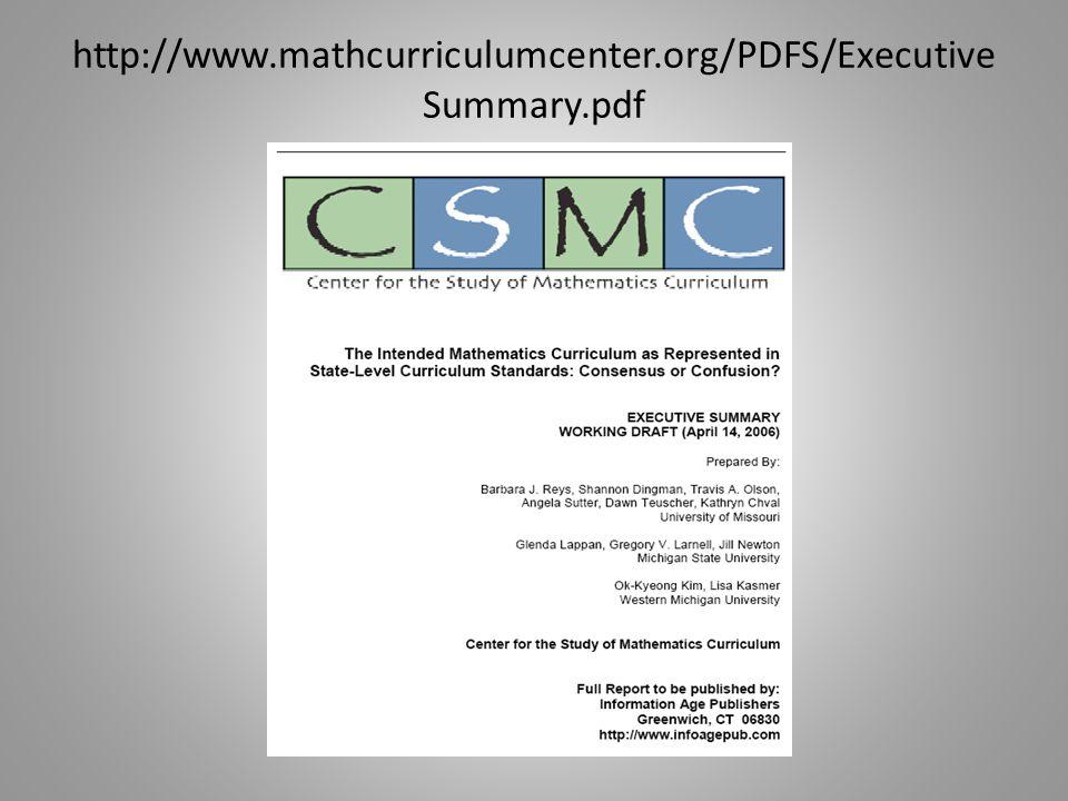 http://www.mathcurriculumcenter.org/PDFS/Executive Summary.pdf