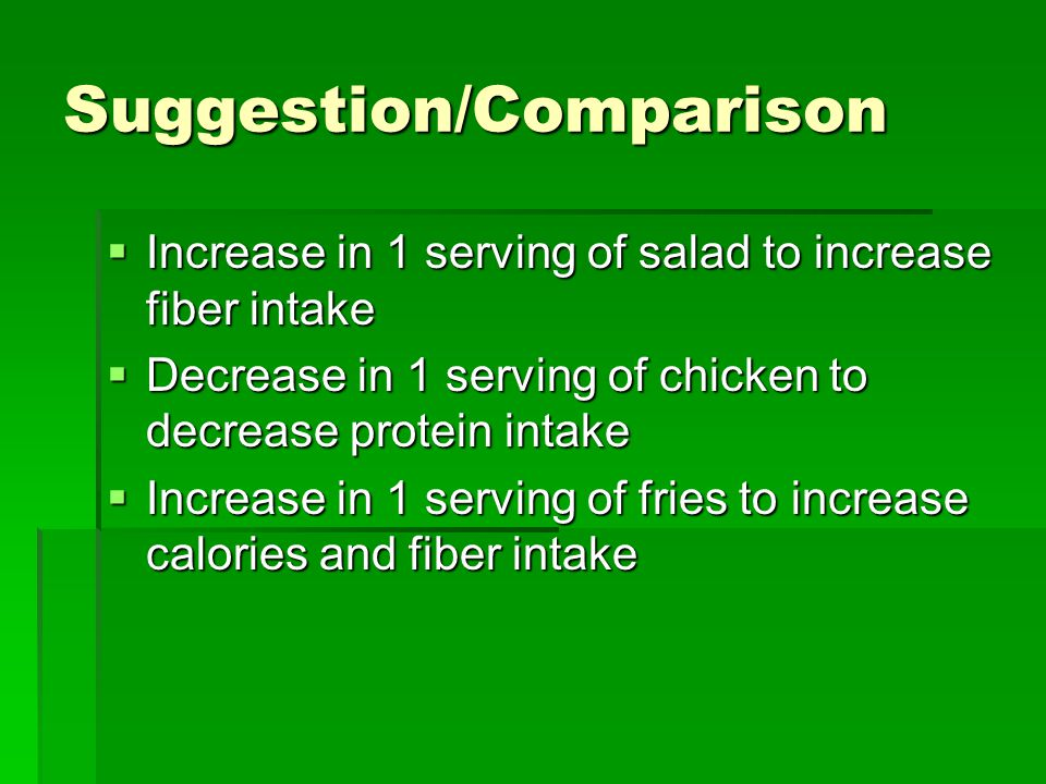 Suggestion/Comparison  Increase in 1 serving of salad to increase fiber intake  Decrease in 1 serving of chicken to decrease protein intake  Increa