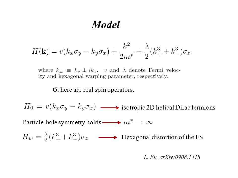 Model isotropic 2D helical Dirac fermions Hexagonal distortion of the FS L. Fu, arXiv:0908.1418 Particle-hole symmetry holds σ i here are real spin op