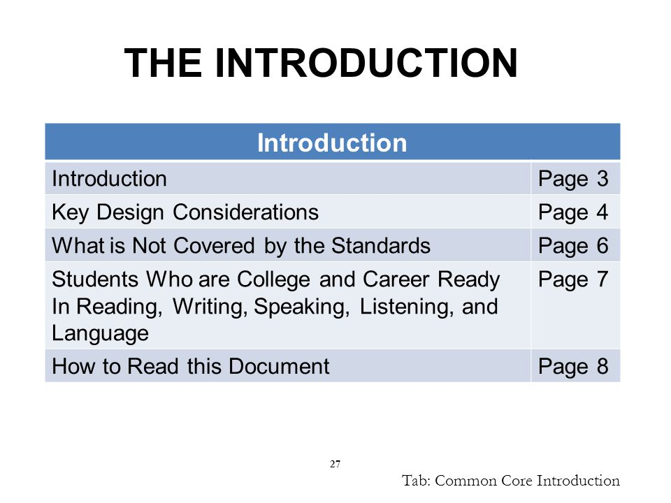 27 THE INTRODUCTION Introduction Page 3 Key Design ConsiderationsPage 4 What is Not Covered by the StandardsPage 6 Students Who are College and Career Ready In Reading, Writing, Speaking, Listening, and Language Page 7 How to Read this DocumentPage 8 Tab: Common Core Introduction