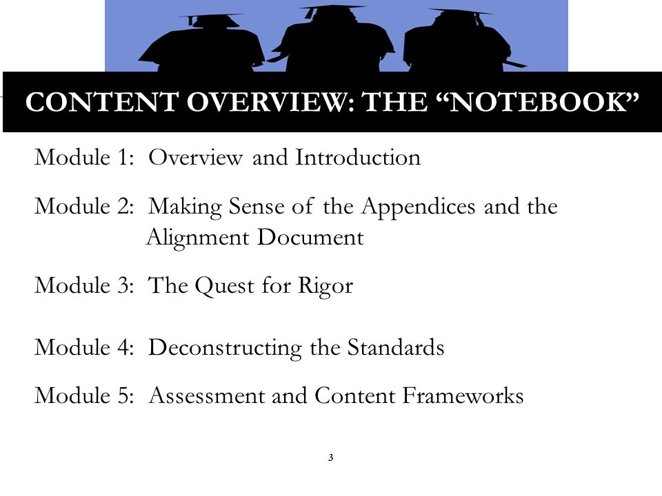 CONTENT OVERVIEW: THE NOTEBOOK Module 1: Overview and Introduction Module 2: Making Sense of the Appendices and the Alignment Document Module 3: The Quest for Rigor Module 4: Deconstructing the Standards Module 5: Assessment and Content Frameworks 3