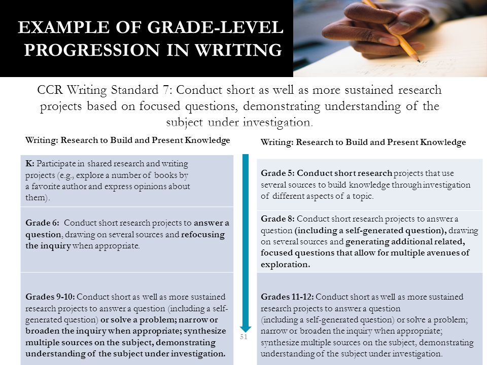 51 EXAMPLE OF GRADE-LEVEL PROGRESSION IN WRITING CCR Writing Standard 7: Conduct short as well as more sustained research projects based on focused questions, demonstrating understanding of the subject under investigation.
