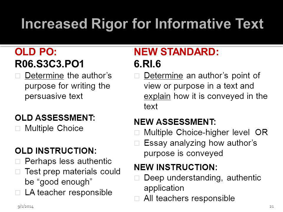 OLD PO: R06.S3C3.PO1  Determine the author's purpose for writing the persuasive text OLD ASSESSMENT:  Multiple Choice OLD INSTRUCTION:  Perhaps less authentic  Test prep materials could be good enough  LA teacher responsible NEW STANDARD: 6.RI.6  Determine an author's point of view or purpose in a text and explain how it is conveyed in the text NEW ASSESSMENT:  Multiple Choice-higher level OR  Essay analyzing how author's purpose is conveyed NEW INSTRUCTION:  Deep understanding, authentic application  All teachers responsible 9/1/201421
