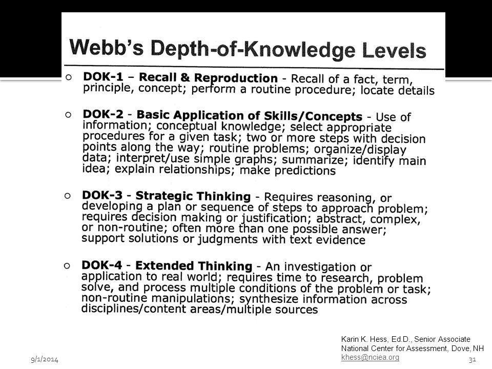 Karin K. Hess, Ed.D., Senior Associate National Center for Assessment, Dove, NH khess@nciea.org 9/1/201431