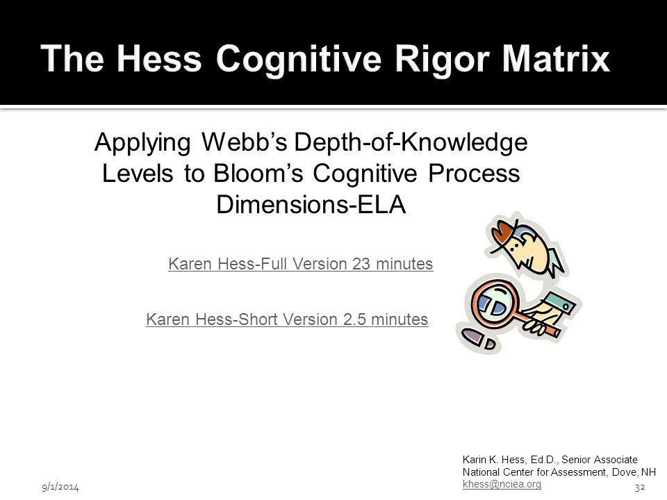 9/1/201432 Karin K. Hess, Ed.D., Senior Associate National Center for Assessment, Dove, NH khess@nciea.org Karen Hess-Full Version 23 minutes Karen He