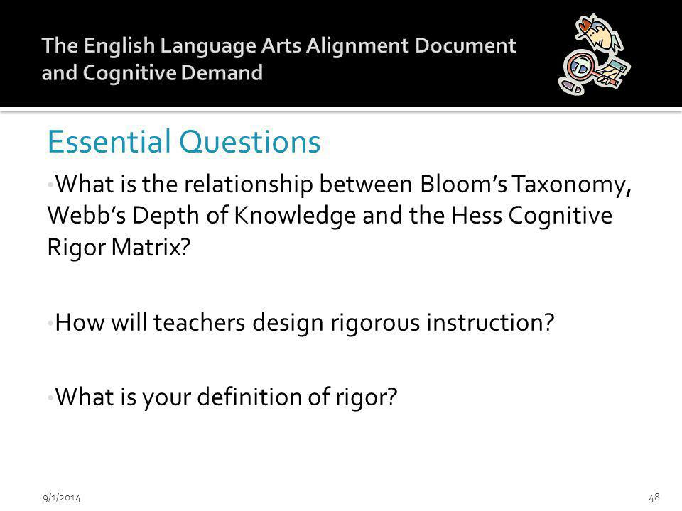 Essential Questions What is the relationship between Bloom's Taxonomy, Webb's Depth of Knowledge and the Hess Cognitive Rigor Matrix.