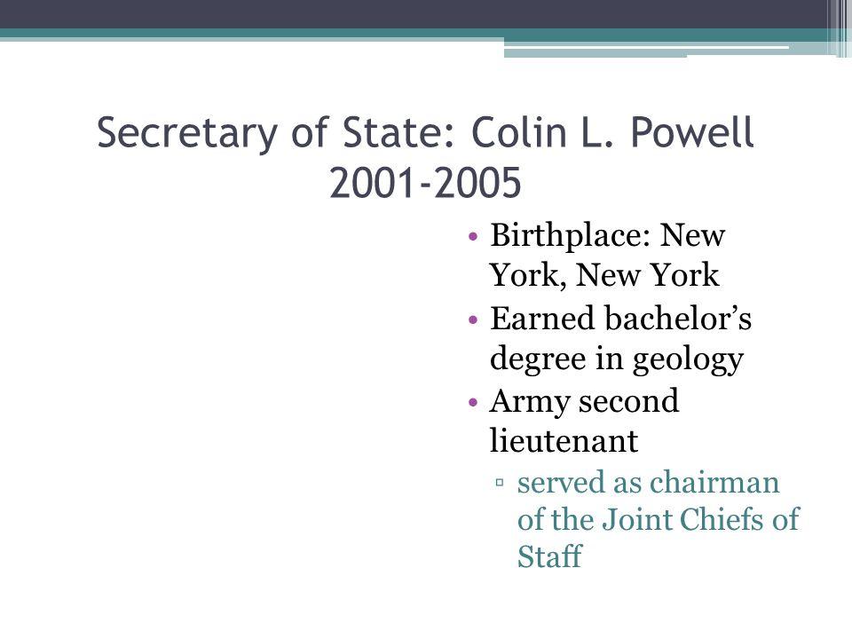 Secretary of State: Colin L.