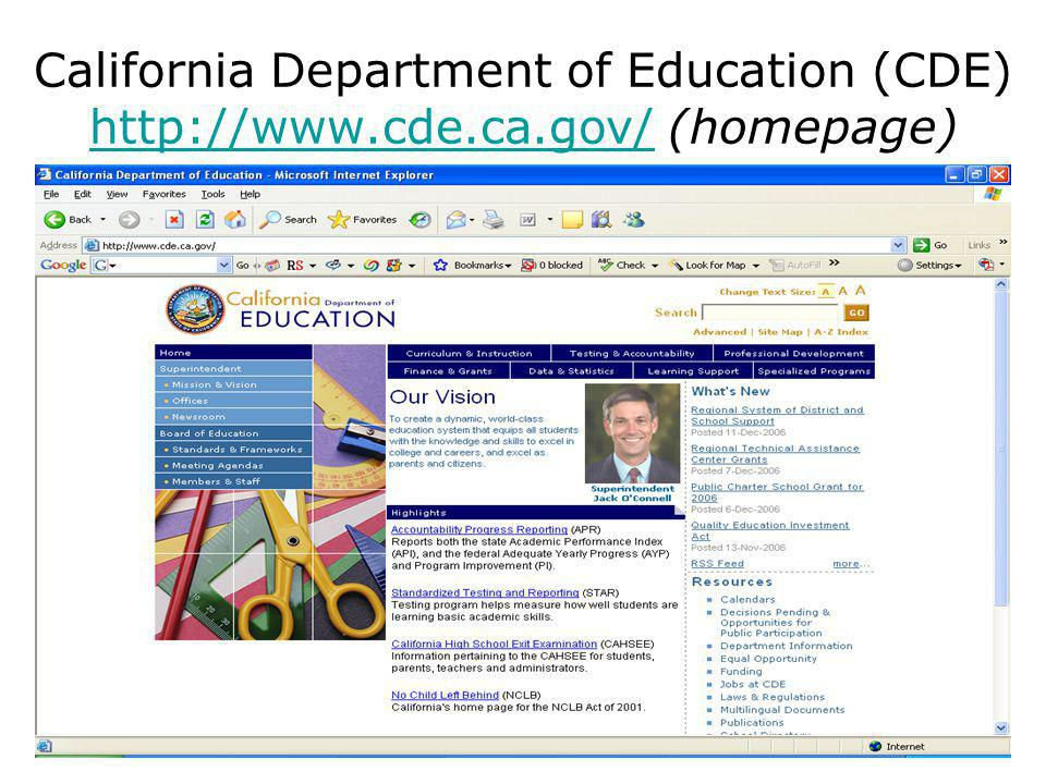 California Department of Education (CDE)   (homepage)