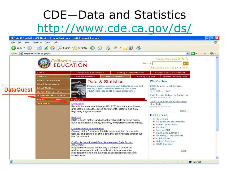 CDE—Data and Statistics     DataQuest