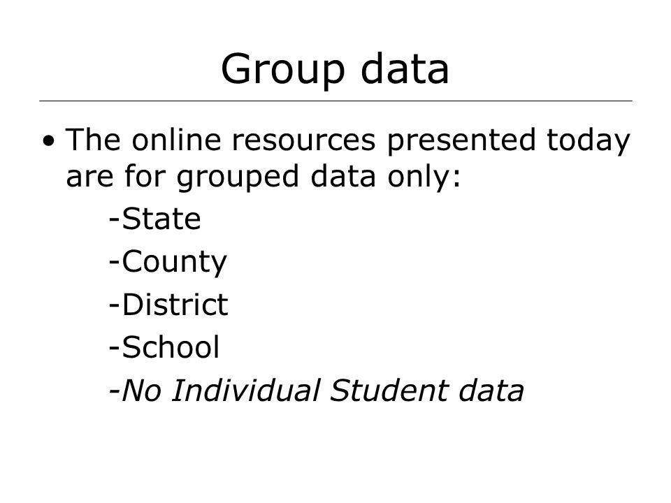 Group data The online resources presented today are for grouped data only: -State -County -District -School -No Individual Student data