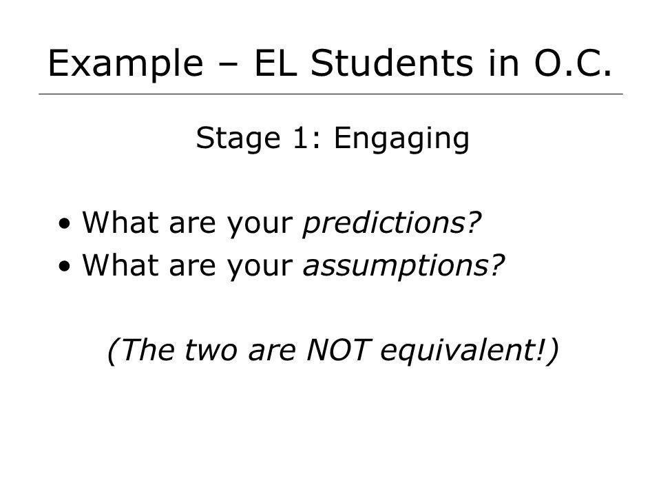 Example – EL Students in O.C. Stage 1: Engaging What are your predictions.