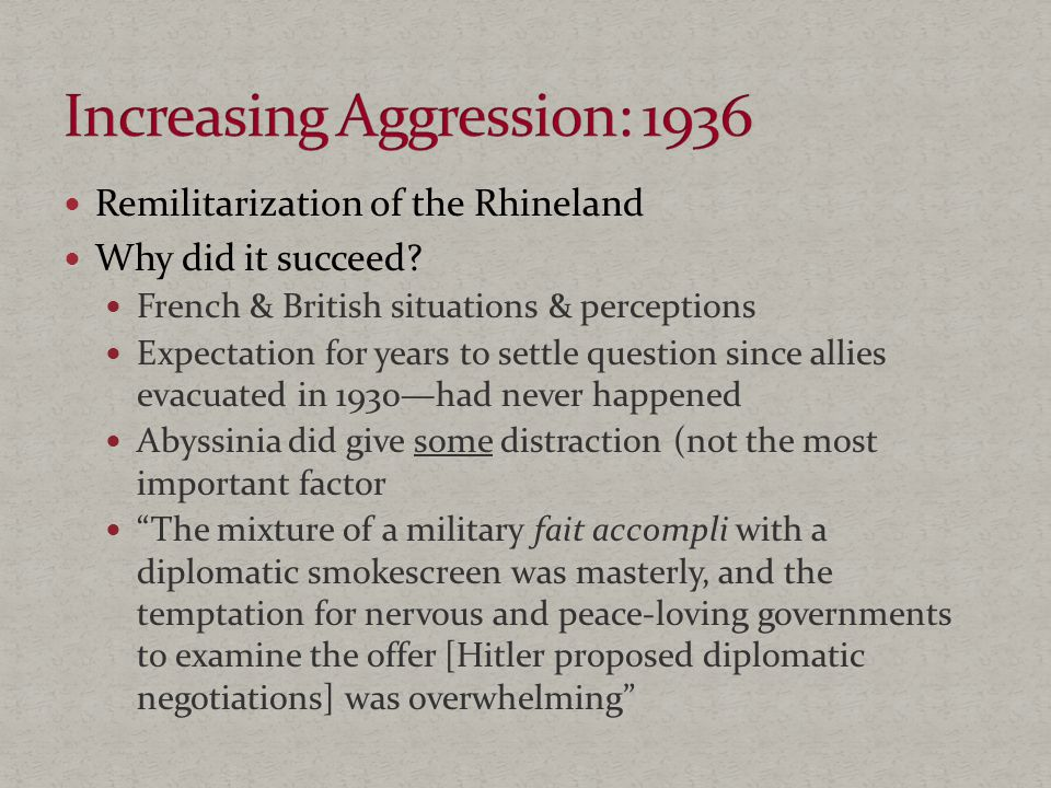 Remilitarization of the Rhineland Why did it succeed.