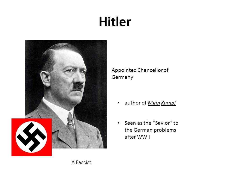 Hitler Appointed Chancellor of Germany author of Mein Kampf Seen as the Savior to the German problems after WW I A Fascist
