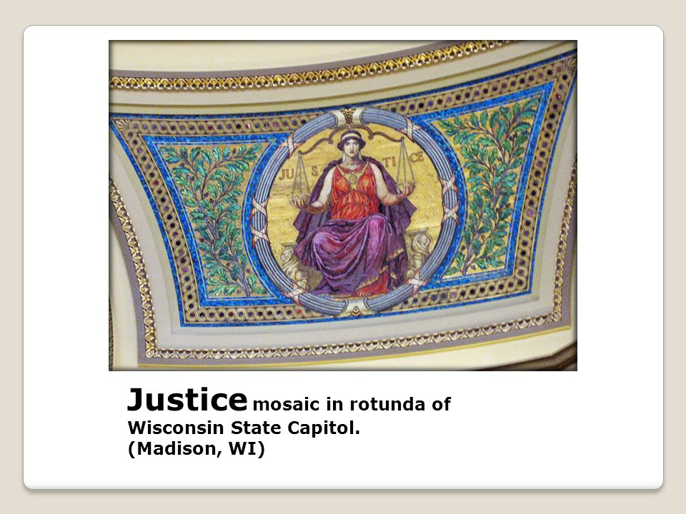 Justice mosaic in rotunda of Wisconsin State Capitol. (Madison, WI)