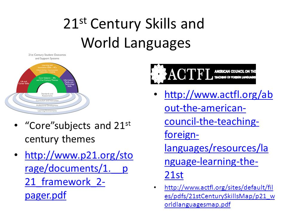 21 st Century Skills and World Languages Core subjects and 21 st century themes   rage/documents/1.__p 21_framework_2- pager.pdf   rage/documents/1.__p 21_framework_2- pager.pdf   out-the-american- council-the-teaching- foreign- languages/resources/la nguage-learning-the- 21st   out-the-american- council-the-teaching- foreign- languages/resources/la nguage-learning-the- 21st   es/pdfs/21stCenturySkillsMap/p21_w orldlanguagesmap.pdf   es/pdfs/21stCenturySkillsMap/p21_w orldlanguagesmap.pdf