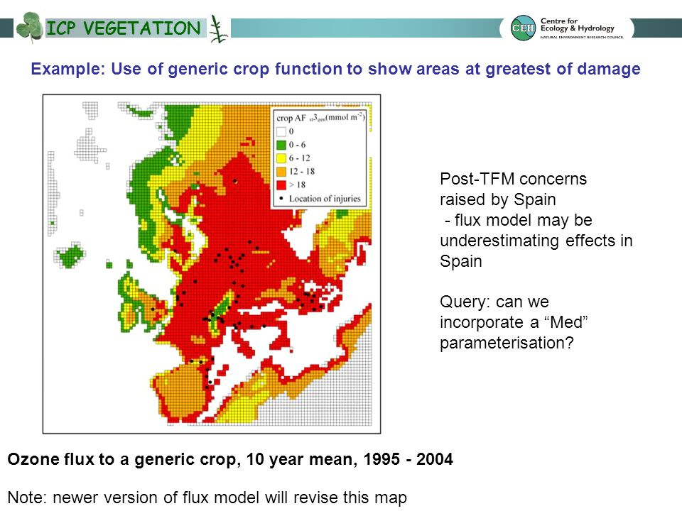ICP VEGETATION Example: Use of generic crop function to show areas at greatest of damage Ozone flux to a generic crop, 10 year mean, 1995 - 2004 Note: