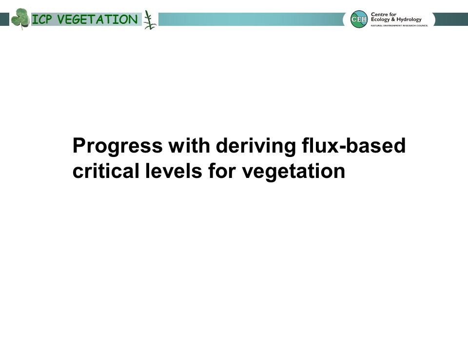 ICP VEGETATION Progress with deriving flux-based critical levels for vegetation