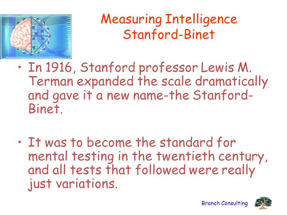 Branch Consulting Measuring Intelligence Stanford-Binet In 1916, Stanford professor Lewis M. Terman expanded the scale dramatically and gave it a new