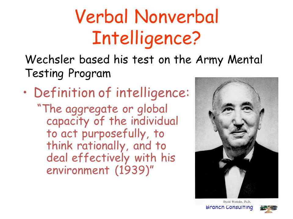 """Branch Consulting Verbal Nonverbal Intelligence? Definition of intelligence: """"The aggregate or global capacity of the individual to act purposefully,"""