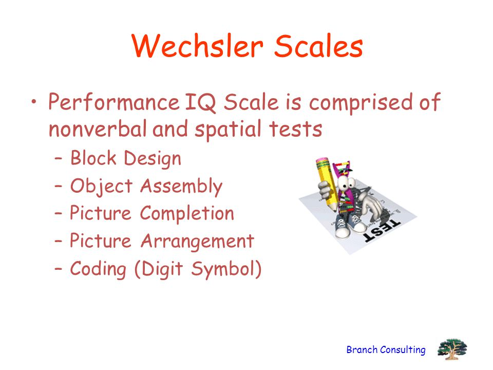 Branch Consulting Wechsler Scales Performance IQ Scale is comprised of nonverbal and spatial tests –Block Design –Object Assembly –Picture Completion