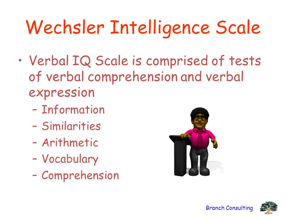 Branch Consulting Wechsler Intelligence Scale Verbal IQ Scale is comprised of tests of verbal comprehension and verbal expression –Information –Simila