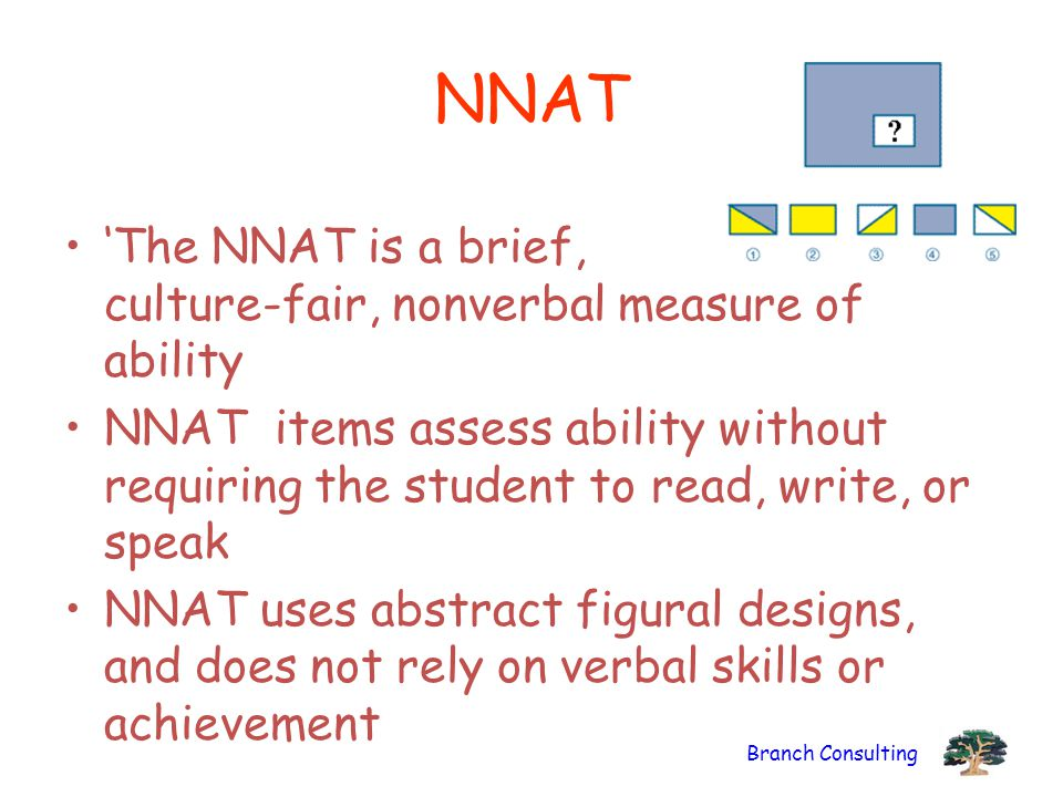 Branch Consulting NNAT 'The NNAT is a brief, culture-fair, nonverbal measure of ability NNAT items assess ability without requiring the student to rea