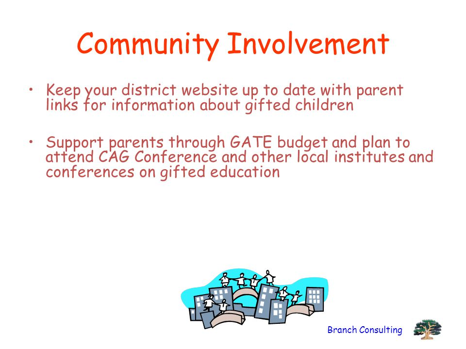 Branch Consulting Community Involvement Keep your district website up to date with parent links for information about gifted children Support parents