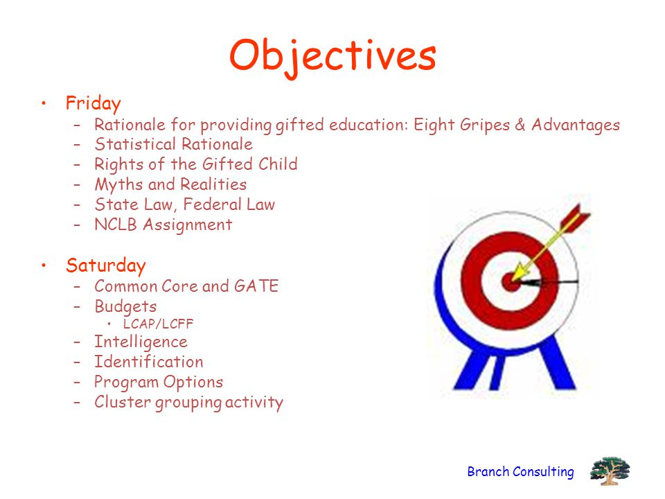 Branch Consulting Objectives Friday –Rationale for providing gifted education: Eight Gripes & Advantages –Statistical Rationale –Rights of the Gifted