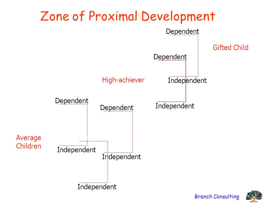 Branch Consulting Zone of Proximal Development Dependent Independent Dependent Independent Dependent Independent Gifted Child Average Children Depende