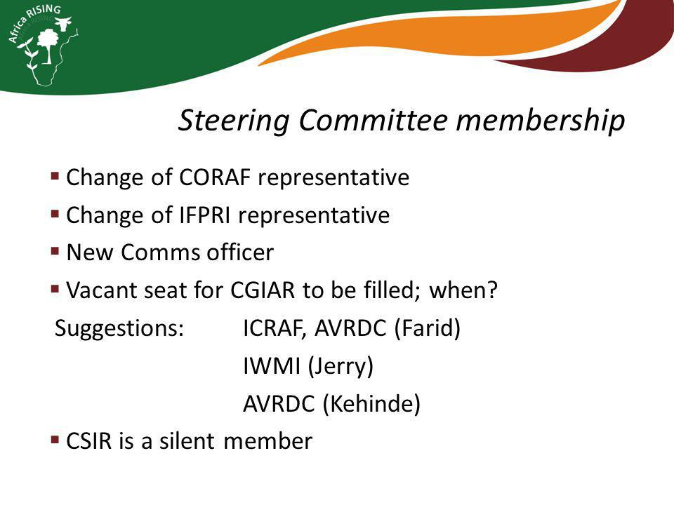  Change of CORAF representative  Change of IFPRI representative  New Comms officer  Vacant seat for CGIAR to be filled; when.