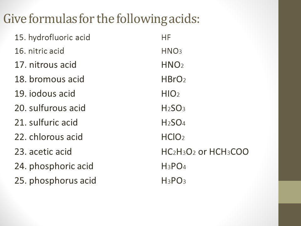 Give formulas for the following acids: 15.hydrofluoric acidHF 16.