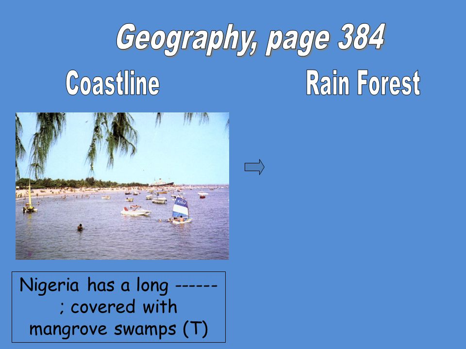 Nigeria has a long ------ ; covered with mangrove swamps (T)