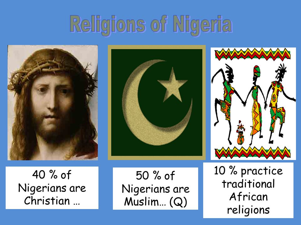 40 % of Nigerians are Christian … 50 % of Nigerians are Muslim… (Q) 10 % practice traditional African religions