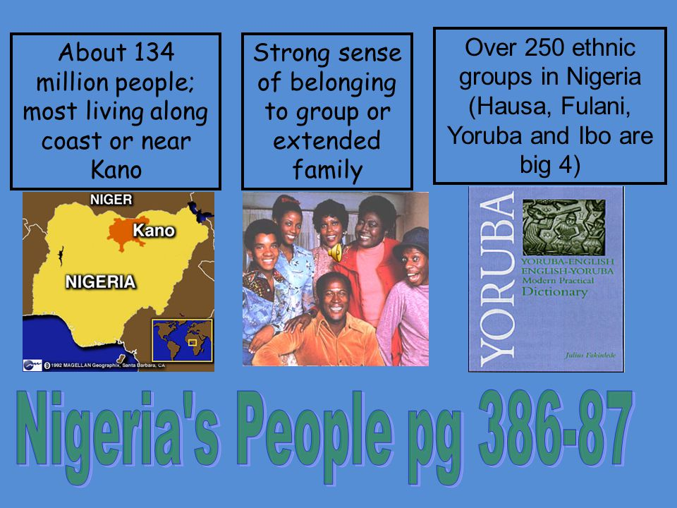 About 134 million people; most living along coast or near Kano Strong sense of belonging to group or extended family Over 250 ethnic groups in Nigeria (Hausa, Fulani, Yoruba and Ibo are big 4)