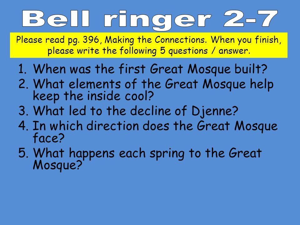 1.When was the first Great Mosque built.