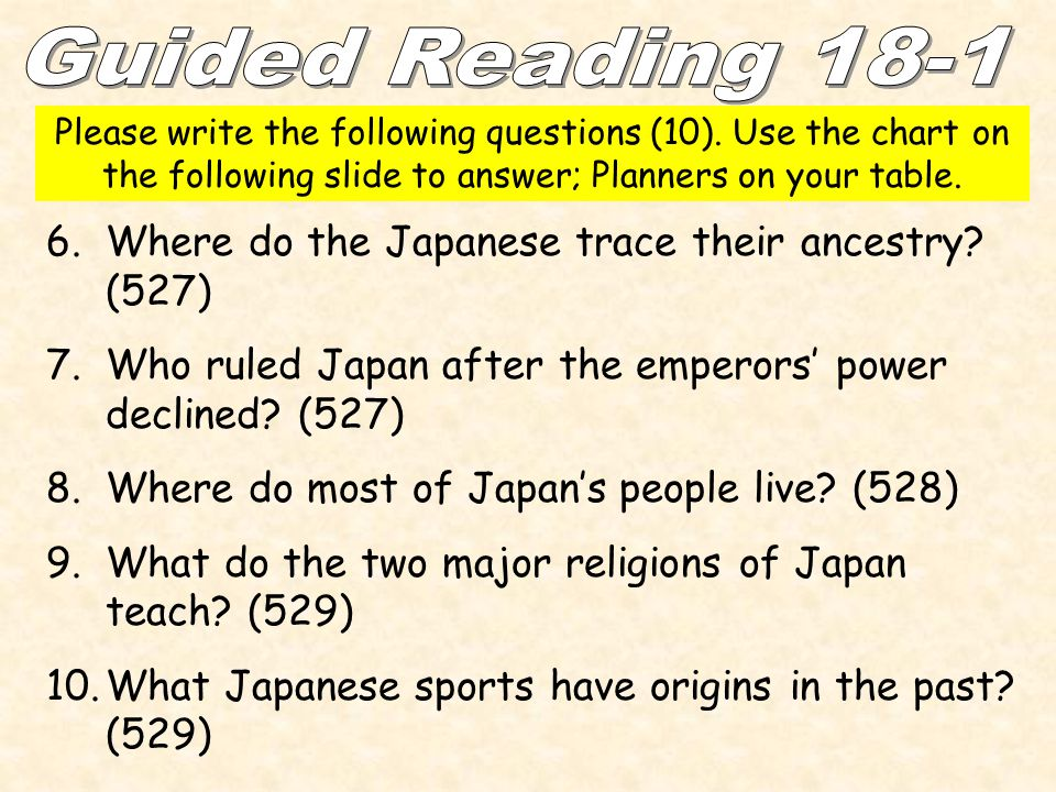 6.Where do the Japanese trace their ancestry? (527) 7.Who ruled Japan after the emperors' power declined? (527) 8.Where do most of Japan's people live