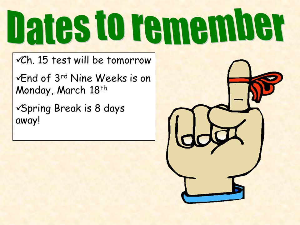 Ch. 15 test will be tomorrow End of 3 rd Nine Weeks is on Monday, March 18 th Spring Break is 8 days away!