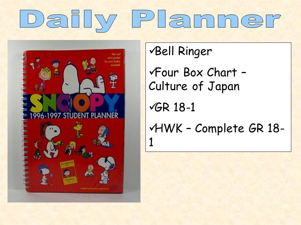 Bell Ringer Four Box Chart – Culture of Japan GR 18-1 HWK – Complete GR 18- 1