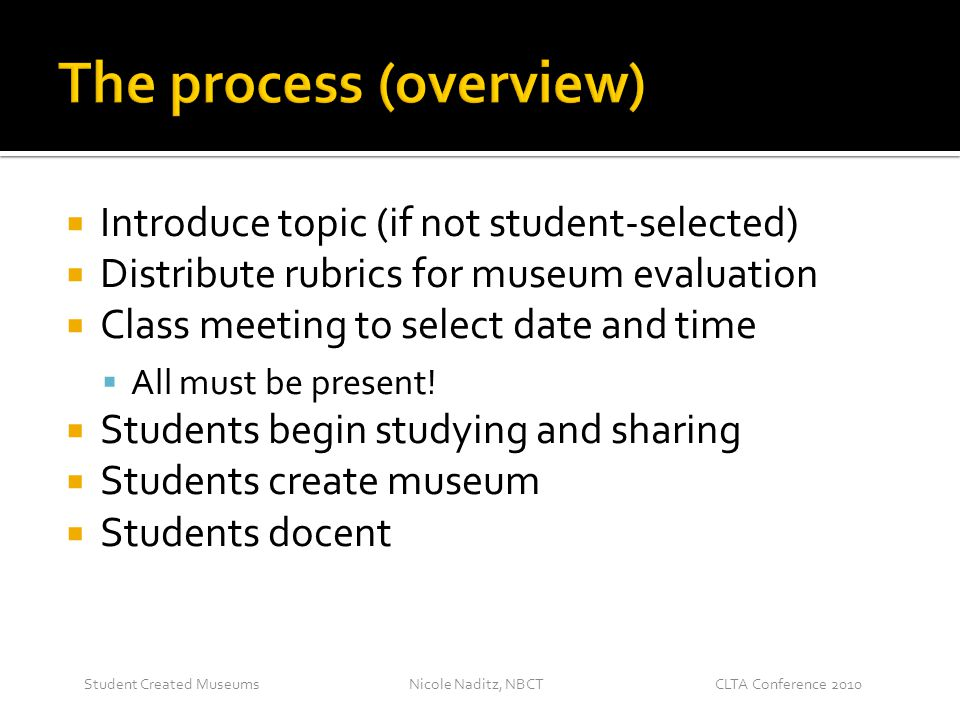 Nicole Naditz, NBCTStudent Created MuseumsCLTA Conference 2010  Introduce topic (if not student-selected)  Distribute rubrics for museum evaluation