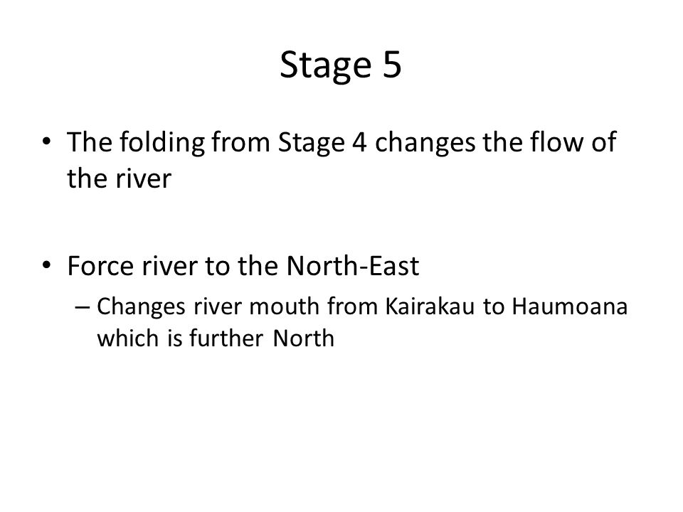 Stage 5 The folding from Stage 4 changes the flow of the river Force river to the North-East – Changes river mouth from Kairakau to Haumoana which is further North