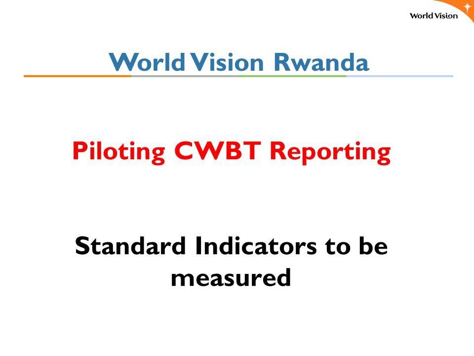 Piloting CWBT Reporting Standard Indicators to be measured World Vision Rwanda