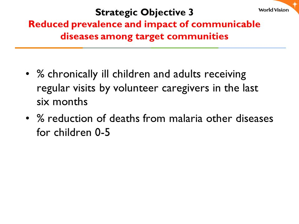 Strategic Objective 3 Reduced prevalence and impact of communicable diseases among target communities % chronically ill children and adults receiving regular visits by volunteer caregivers in the last six months % reduction of deaths from malaria other diseases for children 0-5