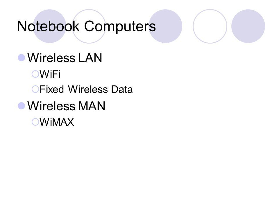 Notebook Computers Wireless LAN  WiFi  Fixed Wireless Data Wireless MAN  WiMAX