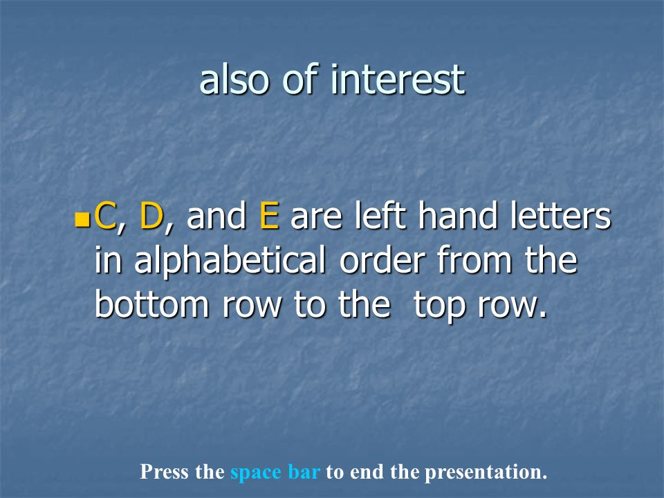 also of interest C, D, and E are left hand letters in alphabetical order from the bottom row to the top row. C, D, and E are left hand letters in alph