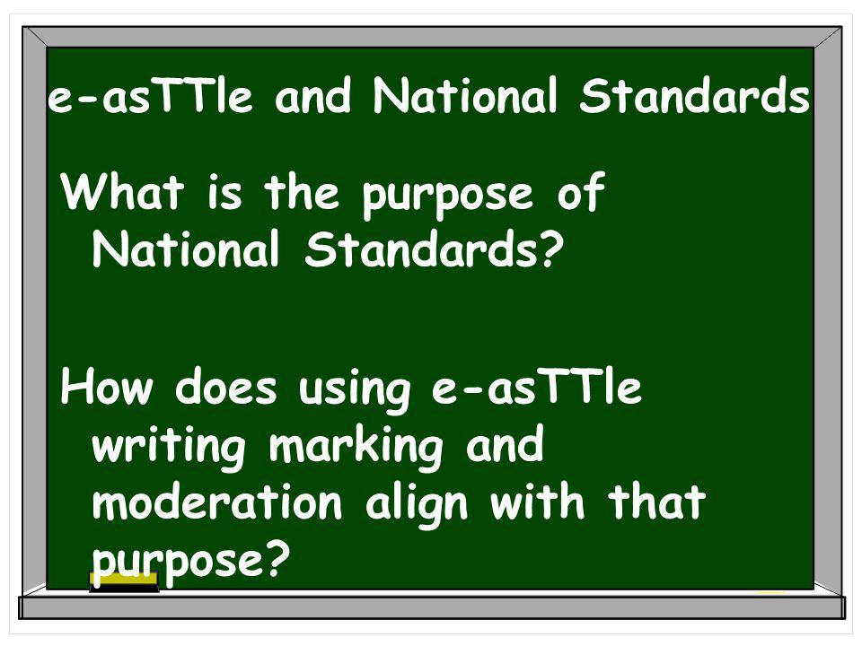 e-asTTle and National Standards What is the purpose of National Standards.