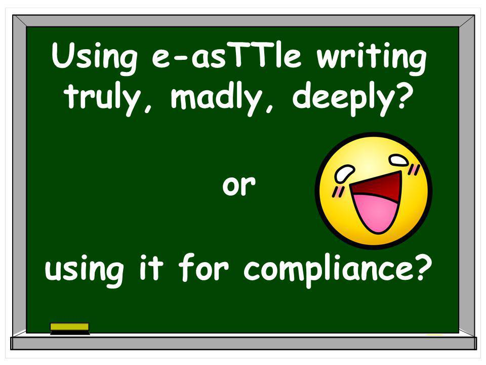 Using e-asTTle writing truly, madly, deeply or using it for compliance