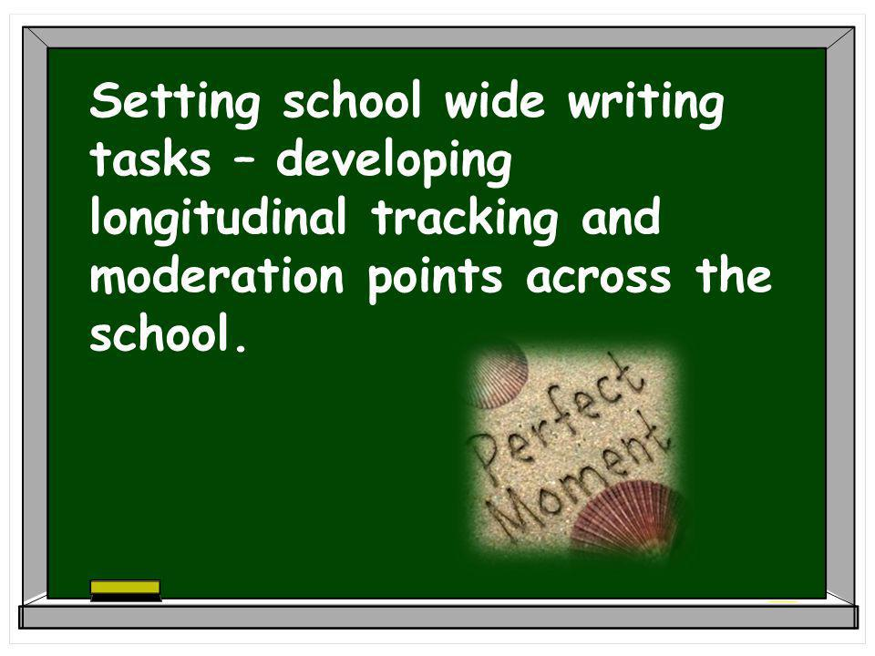 Setting school wide writing tasks – developing longitudinal tracking and moderation points across the school.